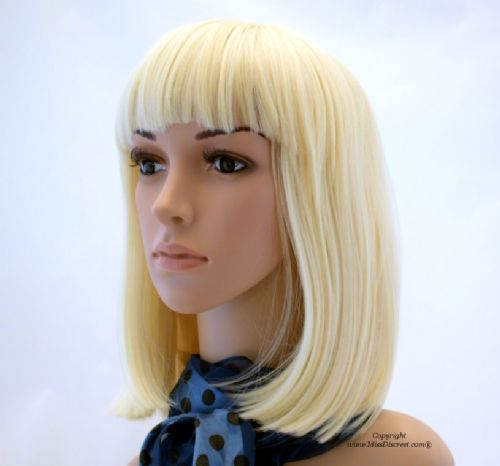 Pure Platinum Blond Full Head Wig Cut in a Longer Length Bob Style